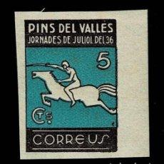 Sellos: V1-4 GUERRA CIVIL PINS DEL VALLES JORNADES DE JULIOL DEL 36 CORREUS PAPEL OPACO FESOFI Nº 16 SIN DEN. Lote 253970930