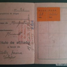 Sellos: GUERRA CIVIL. CARNET DEL PARTIDO SOCIALISTA OBRERO ESPAÑOL EN FRANCIA CON VIÑETAS DEL P.S.O.E. N/C.. Lote 254210430