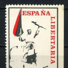 Sellos: ESPAÑA LIBERTARIA - AIT - 100 PTA. 1974 VIÑETA ANARQUISTA. ÚLTIMOS MESES DE LA DICTADURA.. Lote 254335605