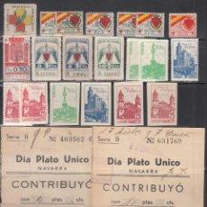 Sellos: NAVARRA, LOTE DE VIÑETAS, DISTINTOS VALORES. Lote 254434385