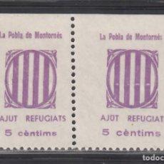 Sellos: AJUT REFUGIATS. LA POBLA DE MONTORNÉS. TARRAGONA, 5 C. VIOLETA, (AL.1A,1B). Lote 254627350