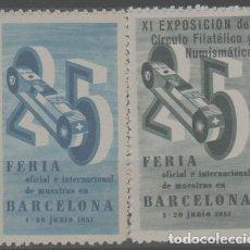 Sellos: LOTE (8) SELLOS VIÑETAS FERIA DE BARCELONA AÑO 1957. Lote 254716110