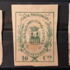 Sellos: VIÑETAS PARA EL SUBSIDIO PRO-COMBATIENTES DE LA JUNTA PROVINCIAL DE PONTEVEDRA. 5,10 Y 25 CTS. Lote 254798910