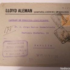 Sellos: MALAGA A SEVILLA. LLOYD ALEMAN.MARZO 1939. CERTIFICADO. DOBLE CENSURA MILITAR MALAGA. VIÑETA REVERSO. Lote 255480155