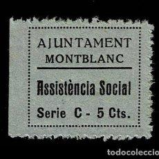 Sellos: GG GUERRA CIVIL MONTBLANC ASSISTENCIA SOCIAL FESOFI Nº 9A VARIEDAD C DE CTS MAYUSCULA SIN FIJASELLOS. Lote 255660275