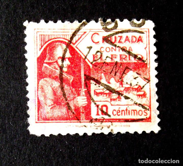CRUZADA CONTRA EL FRIO, 4, USADO, FECHADOR: 12 ENE 37. (Sellos - España - Guerra Civil - De 1.936 a 1.939 - Usados)
