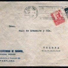 Sellos: GIROEXLIBRIS.1937 - CARTA COMERCIAL CIRCULADA DE PAMPLONA A TOLOSA CON VIÑETA DE AUXILIO DE INVIERNO. Lote 257589630