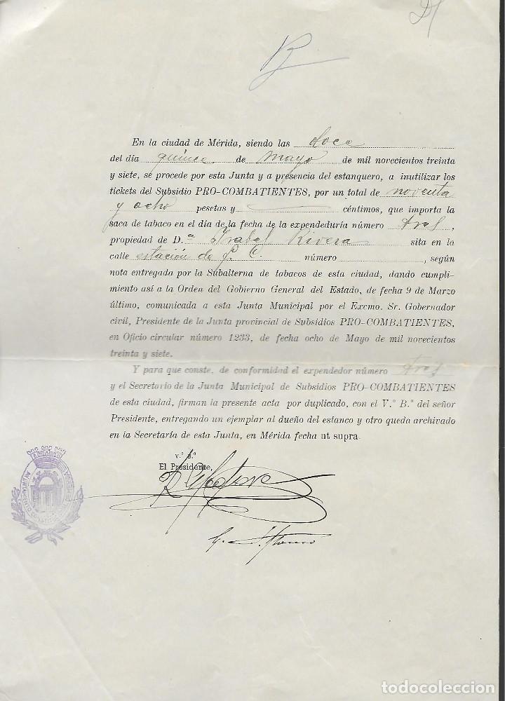 MERIDA, LIQUIDACION TIKET --PRO-COMBATIENTES.- ESCUDO REPUBLICANO AZUL,- VER FOTO (Sellos - España - Guerra Civil - Locales - Usados)