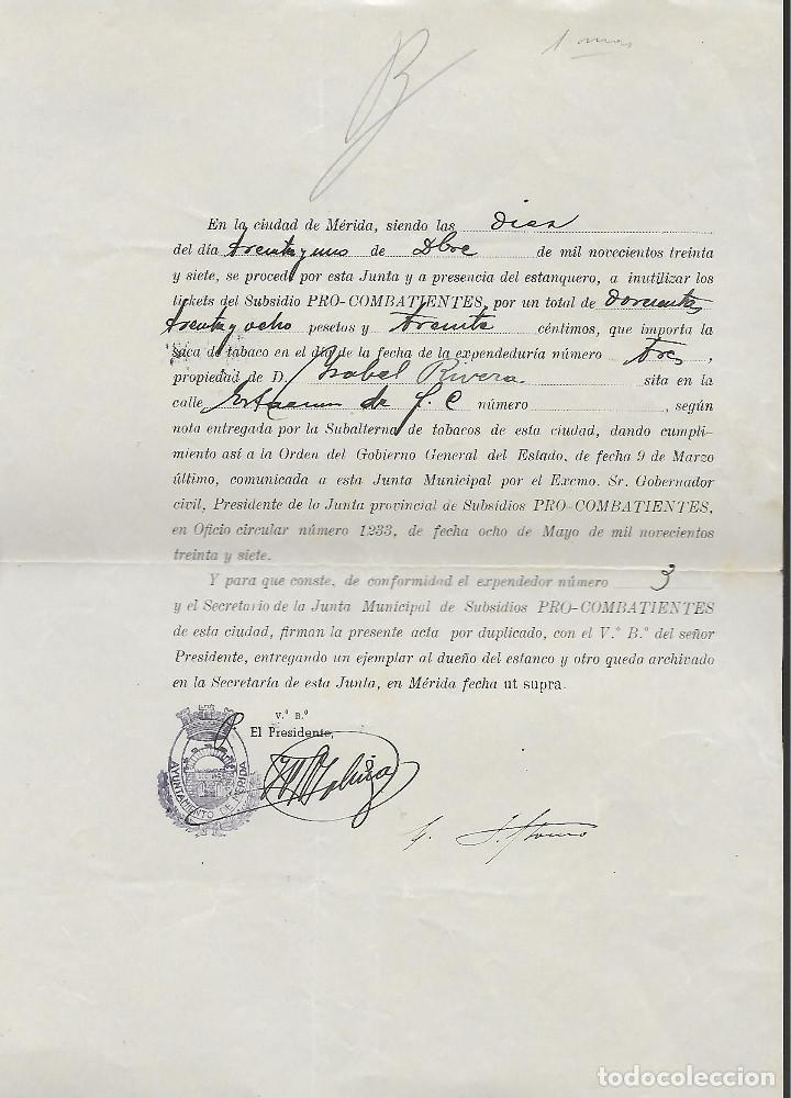 MERIDA, LIQUIDACION TIKET --PRO-COMBATIENTES.- ESCUDO REPUBLICANO NEGRO,- VER FOTO (Sellos - España - Guerra Civil - Locales - Usados)