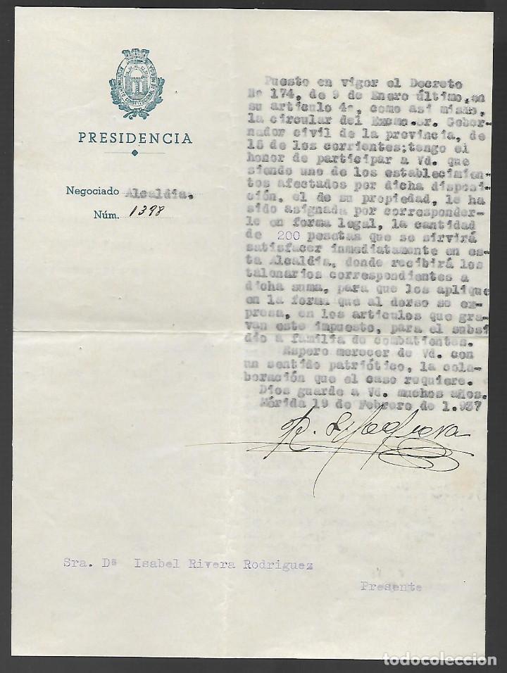 MERIDA, LIQUIDACION TIKET --PRO-COMBATIENTES.- ESCUDO REPUBLICANO ALCALDIA,- VER FOTO (Sellos - España - Guerra Civil - Locales - Usados)