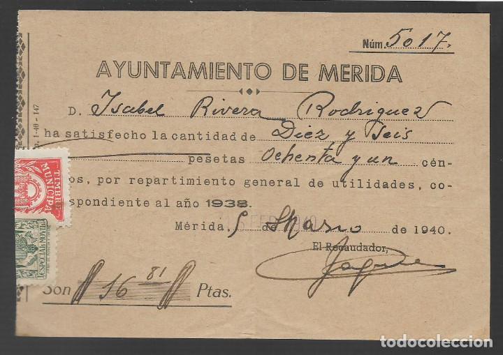 MERIDA,- REPARTO UTILIDADES.- SELLO MUNICIPAL Y MOVIL,- VER FPOTO (Sellos - España - Guerra Civil - Locales - Usados)