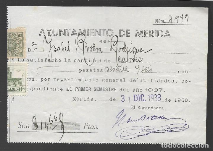 MERIDA,- REPARTO UTILIDADES.- SELLO MUNICIPAL Y MOVIL,- VER FOTO (Sellos - España - Guerra Civil - Locales - Usados)