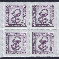 Selos: FISCALES. PATRONATO FARMACÉUTICO NACIONAL (BLOQUE DE 8). SIN DENTAR. 40 CTS. MNH **. Lote 257950380