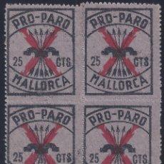 Sellos: MALLORCA. PRO-PARO (BLOQUE DE 4) (VARIEDAD...DENTADO SUPERIOR Y CALCADO AL REVERSO). LUJO. MNH **. Lote 257956110