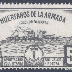 Selos: HUÉRFANOS DE LA ARMADA. CRUCERO BALEARES 5 PTS. (VARIEDAD...LATERAL DERECHO SIN DENTADO). MNH **. Lote 257983310