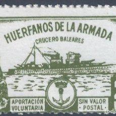 Selos: HUÉRFANOS DE LA ARMADA. CRUCERO BALEARES 25 PTS. (VARIEDAD..LATERAL IZDO. SIN DENTAR) ESCASO. MNH **. Lote 257983395