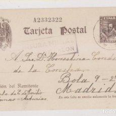 Francobolli: TARJETA ENTERO POSTAL. SOMAO, PRAVIA. 1941. CENSURA MILITAR DE MUROS DEL NALÓN. ASTURIAS. Lote 258018510