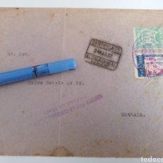 Sellos: ALCALA LA REAL, JAÉN A GRANADA. 1937. SELLO BENEFICENCIA Y VIÑETA LOCAL 5 CENTS, Y CENSURA MILITAR. Lote 258184040