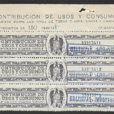 Sellos: CONTRIBUCION DE USOS Y CONSUMO.- SOBRE VINOS.- VER FOTO. Lote 259024405