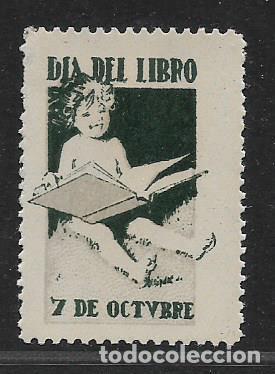 VIÑETA,- DIA DEL LOIBRO,- 7 DE OCTUBRE,- VER FOTO (Sellos - España - Guerra Civil - Locales - Usados)