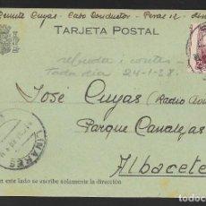 Sellos: POSTAL CIRCULADA DE LINARES A ALBACETE- RADIO AVIACION- REPUBLICANA.- VER FOTOS. Lote 259027740