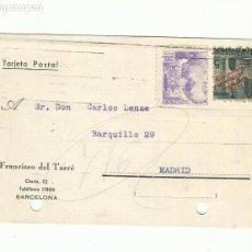 Sellos: TARJETA CIRCULADA Y MECANOESCRITA 1940 DE BARCELONA A MADRID CON SELLO LOCAL. Lote 259869730