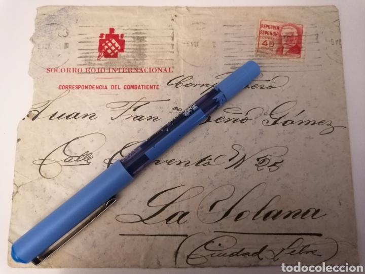 SOCORRO ROJO INTERNACIONAL. CORRESPONDENCIA DEL COMBATIENTE. CARTA A LA SOLANA. CIUDAD LIBRE. (Sellos - España - Guerra Civil - De 1.936 a 1.939 - Cartas)