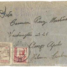 Sellos: 1937 (4 MAR) CARTA CORUÑA A LA HABANA (CUBA) GUERRA CIVIL. SELLO ISABEL LA CATÓLICA + VIÑETA. Lote 260276615