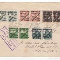 Sellos: 1937 CARTA FRANQUEADA CON SERIE PATRIOTA LOCAL PAREJAS DESDE LA LINEA A ZARAGOZA. Lote 260278395