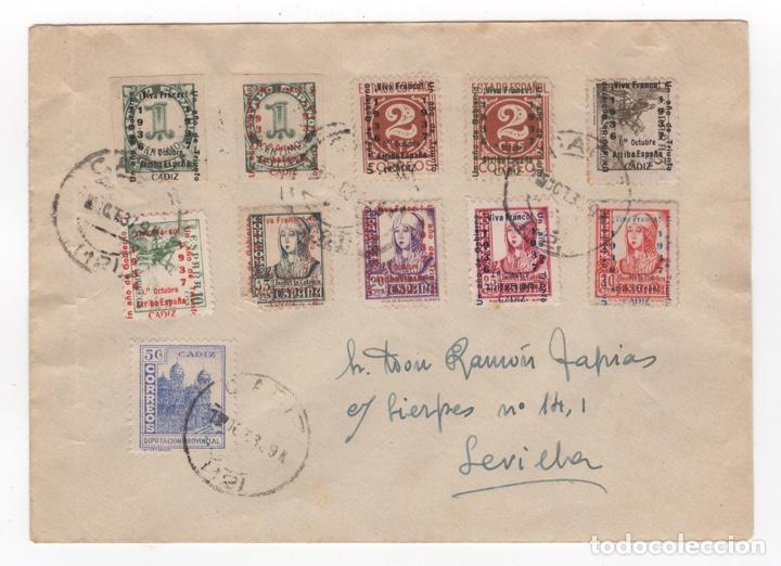 1937 CARTA FRANQUEADA CON SERIE PATRIOTA LOCAL DESDE CADIZ SEVILLA (Sellos - España - Guerra Civil - Locales - Cartas)