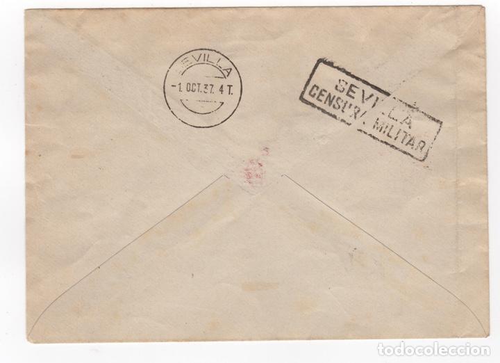 Sellos: 1937 Carta franqueada con serie patriota local desde Cadiz Sevilla - Foto 2 - 260278825