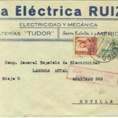 Sellos: SOBRE CIRCULADO DE MÉRIDA A SEVILLA. CENSURA MILITAR DE MÉRIDA (BADAJOZ) CAT. HELLER M51.2 ROJO. Lote 260665955
