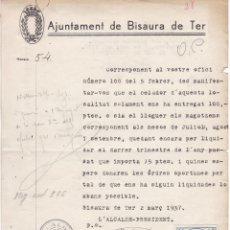 Sellos: HP4-1- FISCALES DOCUMENTO OBRAS PÚBLICAS BISAURA DE TER (BARCELONA) 1937. Lote 260700725