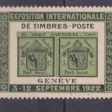 Sellos: FC280- VIÑETA EXPOSICIÓN SELLOS GINEBRA 1922 ** SIN FIJASELLOS. Lote 260709350