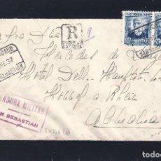 Sellos: SOBRE DE LUTO CERTIFICADO DE SAN SEBASTIÁN A ALEMANIA 2-ENERO-1937. CENSURA. LUJO.. Lote 260730410