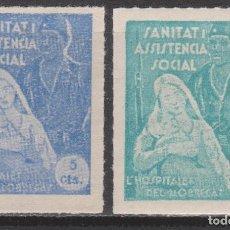 Sellos: 1937 GUERRA CIVIL L'HOSPITALET LLOBREGAT (BARNA) ASISTENCIA SOCIAL 2 PIEZAS*.. Lote 260791755