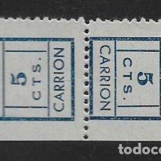 Sellos: CARRION-SEVILLA- PAREJA CAPICUA- VARIEDAD DE COLOR EL PAPEL- VER FOTO. Lote 261163325