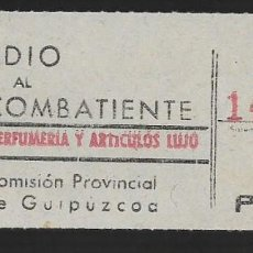 Sellos: GUIPUZCOA, 1 PTA. SUBSIDIO AL COMBATIENTE- PERFUMERIA Y ARTICULOS DE LUJO, VER FOTO. Lote 261166375