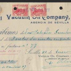 Sellos: SEVILLA, PAGO VACUUM OIL COMPANY, S.A. -SELLO DE CORREOS Y BENEFICO.- VER FOTO. Lote 261322375