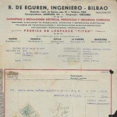 Sellos: FACTURA.- R.DE EGUREN ,INGENIERO - BILBAO.- SELLO ESPECIAÑL MOVIL Y BENEFICO-VER FOTO. Lote 261325450
