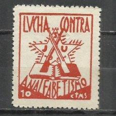 Sellos: Q527I- ESPAÑA GUERRA CIVIL VIÑETA POLÍTICA REPUBLICANA.LUCHA CONTRA ANALFABETISMO 1936. Lote 261488940