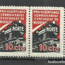 Sellos: LO5-1X2 MNH** GUERRA CIVIL HUERFANOS FERROVIARIOS EVACUADOS DE MADRID 10 CTS FERROCARRIL RAIL WAY TR. Lote 261526220