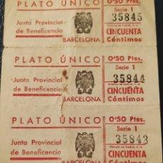 Sellos: GUERRA CIVIL 3 VALES PLATO ÚNICO JUNTA PROVINCIAL BENEFICIENCIA DE BARCELONA. Lote 261561045