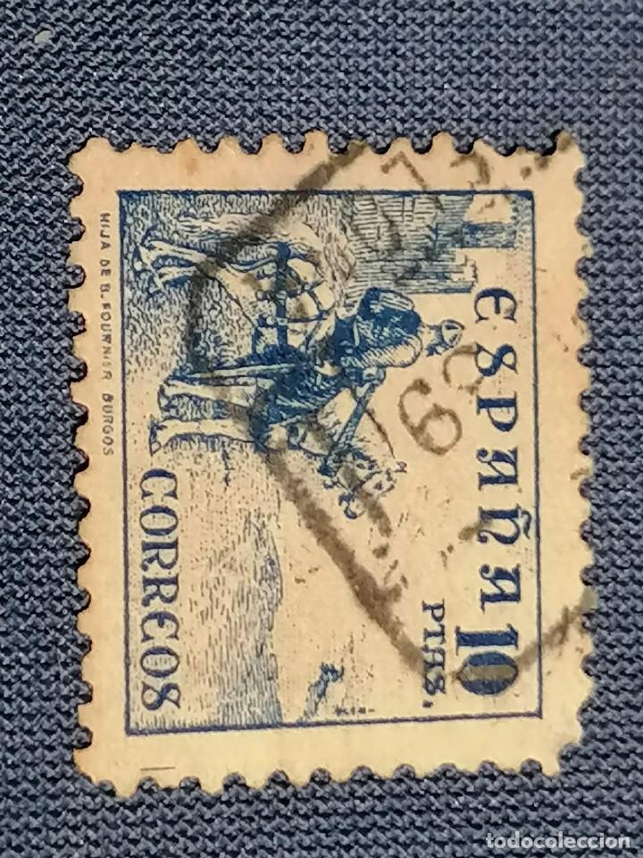 Sellos: España Sello CID 10 pesetas Edifil 831 usado sello muy Escaso Centraje De Lujo - Foto 4 - 261726475