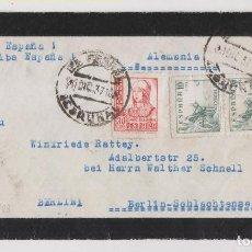 Sellos: SOBRE. FERROL, CORUÑA, GALICIA. 1937. A ALEMANIA. BONITA CENSURA MILITAR. Lote 261984015