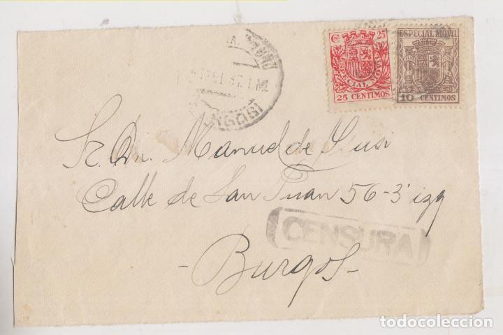 FRONTAL. BURGOS. CENSURA MILITAR. 1937. CIRCULADA CON SELLOS FISCALES (Sellos - España - Guerra Civil - De 1.936 a 1.939 - Cartas)