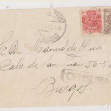 Sellos: FRONTAL. BURGOS. CENSURA MILITAR. 1937. CIRCULADA CON SELLOS FISCALES. Lote 262052600