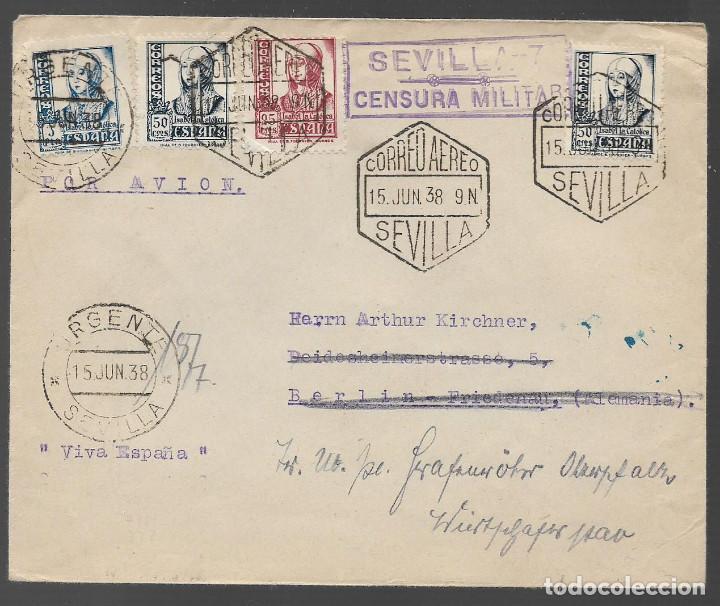 CARTA DIRIGIDA ALEMANIA, C.M. SEVILLA-7 . SELLADO -URGENTE- ISABEL, 25, 50 Y 1 PTA, VER FOTOS (Sellos - España - Guerra Civil - Locales - Cartas)