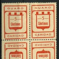 Sellos: ESPAÑA. GUERRA CIVIL. GUARO (MÁLAGA). EDIFIL 2II + 2II EN BLOQUE DE 4 SELLOS. Lote 262365120