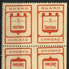 Sellos: ESPAÑA. GUERRA CIVIL. GUARO (MÁLAGA). EDIFIL 2II + 2IIC BLOQUE DE 4 SELLOS. SIN DENTAR EN EL CENTRO. Lote 262365435